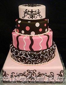 pink and chocolate wedding cake, www.lasvegascustomcakes.com