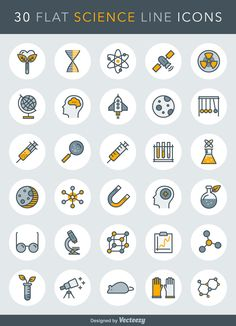 A free set of 30 science related vector line icons in AI, EPS, SVG, PSD and PNG by Vecteezy.