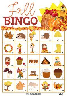 Fall BINGO For Kids, Fall Activities, Fall Printable, Fall Classroom Activities, Fall Games For Kids, Fall Worksheet For Kids, Fall Games
