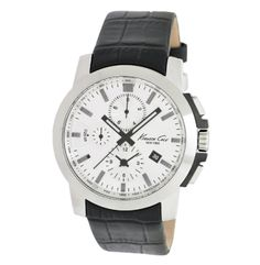 Chronograph Watch With Black Croco-Embossed Leather Strap - Kenneth Cole