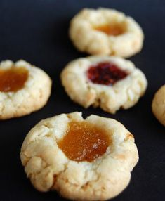 Coconut Thumbprint Cookies - Culinary Concoctions by Peabody Cooking Cookies, Cookie Desserts, Cupcake Cookies, Cookie Bars, Just Desserts, Cookie Recipes, Dessert Recipes, Cupcakes, Thumbprint Cookies