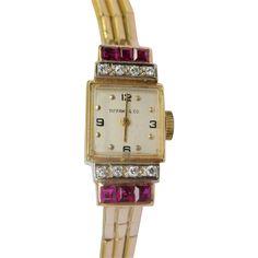 Fine Retro 1940s Tiffany & Co. Ladies Watch Yellow Gold, Diamonds and Rubies..