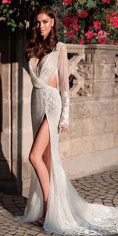 sexy wedding dresses ideas long sleeves v neck full embellishment high slit sheath elihav sasson