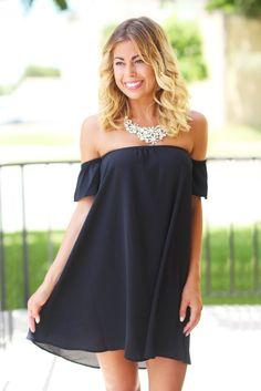 Black Off Shoulder Dress with Short Sleeves