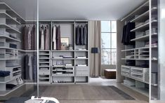 large grey walk in closet organizer for wardrobes light colored wooden floors of Dozens of Walk In Closet Organizers Lowes