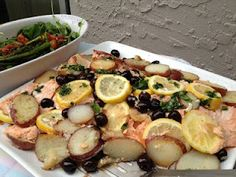Roasted Salmon with Red potatoes topped with Herb Citrus Dressing, made this for an Easter Lunch and it was soooo good!