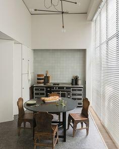 hand-made square tile kitchen niche