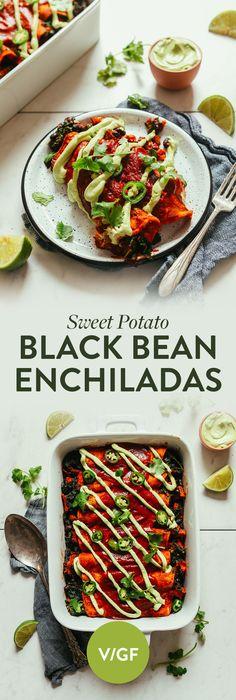 AMAZING Sweet Potato Black Bean Enchiladas. 9 ingredients, BIG flavor, so satisfying! #vegan #glutenfree #enchiladas #minimalistbaker