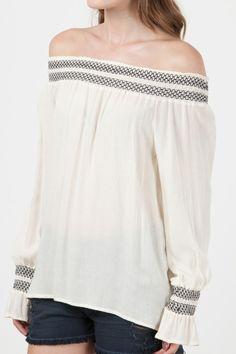 Blusa ombro a ombro bordada-Butternut da Canal Concept
