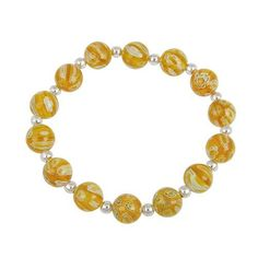 Sterling Silver Murano-Style Millefiori Glass Yellow Beaded Stretch Bracelet SilverSpeck.com. $12.99