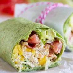 Shredded chicken, mango, avocado and bacon are the stars in this easy California Club Chicken Wrap that is perfect for a weeknight.
