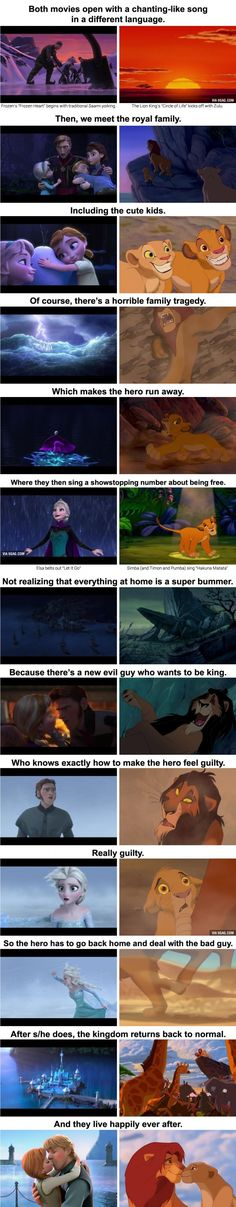 Funny pictures about Frozen And The Lion King Are The Same Movie. Oh, and cool pics about Frozen And The Lion King Are The Same Movie. Also, Frozen And The Lion King Are The Same Movie photos. Humour Disney, Funny Disney Jokes, Disney Memes, Disney Quotes, Disney Magic, Frozen Disney, Frozen Movie, Disney And Dreamworks, Disney Pixar