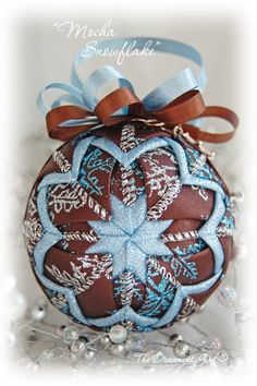 """Quilted"" ornaments.  Love this color combo."