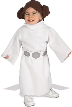 Baby Costumes - This adorable infant Princess Leia Baby costume includes the Princess Leia headpiece with buns, and the white robe with attached belt. The Princess Leia Baby Costume is an officially licensed authentic Star Wars Costume. Princess Leia Dress, Princess Costumes, Baby Princess, Princess Star, Girl Costumes, Halloween Infantil, Toddler Halloween Costumes, Baby Halloween, Leia Star Wars