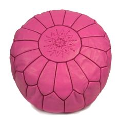 LET LIV Moroccan Leather Pouf in Fuchsia