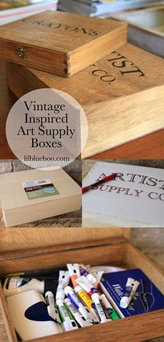 Organization ideas for art and craft supplies: make these boxes using the downloadable template for vintage inspired boxes.