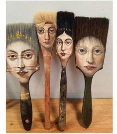 Alexandra-Dillon axe painting brush artwork, Artist Alexandra Dillon Paints Classic Portraits On Everyday Objects Art And Illustration, Illustration Fashion, Art Illustrations, Paint Brush Art, Paint Brushes, Art Altéré, Classic Portraits, Wow Art, Arte Pop