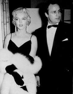 "infinitemarilynmonroe: """"Marilyn Monroe and Marlon Brando at the premiere of The Rose Tattoo, 1955. "" """