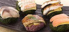 <わさび寿司 : JAPANESE STYLE SUSHI>  The beauty design is made with sushi wrapped in leaf of wasabi.   It is made by Umemori-Honten that is located at Nara prefecture.  Kakinoha-suhi that is made with sushi wrapped in leaf of persimmon is the most popular around Nara area.  The origin of type of sushi with wrapped in leaf is Edo period.