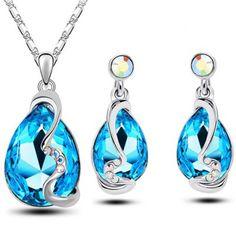Elegant Faux Crystal Teardrop Necklace and Earrings
