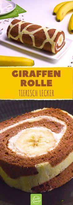 Ein Kuchen mit Muster - und köstlicher Bananenfüllung! #rezept #rezepte #biskuit #rolle #giraffe