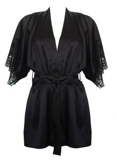 Signature Black Belted silk robe