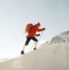 Man in red anorak cross country skiing in Jotunheimen, Norway in Photo by Paul A. Ski Wear, Alpine Skiing, Visit Norway, Vintage Ski, Image Archive, Cross Country Skiing, Ancient Symbols, Outdoor Camping, Wilderness