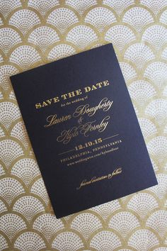 LoveLeigh Invitations // gold foil save the date on black cover stock with envelope printing for December wedding.