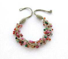 Ganchillo collar collar de perlas lino Natural por CraftsbySigita