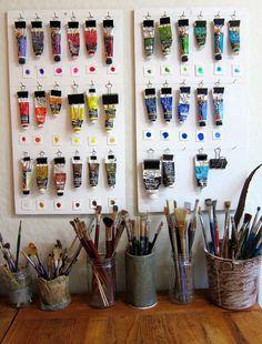 60 Most Popular Art Studio Organization Ideas and Decor - Art Studios - Art Art Studio Room, Art Studio At Home, Painting Studio, Art Studio Decor, Art Studio Design, Studio 60, Art Studio Spaces, Oil Painting Supplies, Dream Studio
