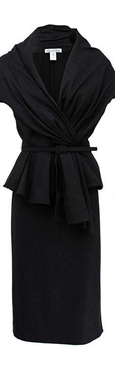 Oscar de la Renta ● Black Belted Jacket and High Waist Skirt