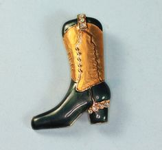 Enameled Cowgirl Boot Brooch Pin with Rhinestones by PastSplendors