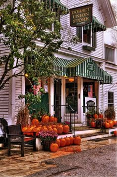 A celebration of the harvest season and autumn at the Dorset Union Store, Dorset Vermont. <br /> <br /> Dorset village is an idyllic town center, and the country store is a key hub for local residents and tourist alike. Dorset Vermont, Le Vermont, Baked In Vermont, The Places Youll Go, Places To Go, Fall Pictures, Fall Pics, New Hampshire, Cabana