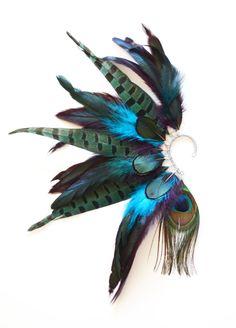 Feather Ear Cuff, Feather Ear Wrap, Feather Earrings, Festival, Festival Ear Cuff by Njuu on Etsy