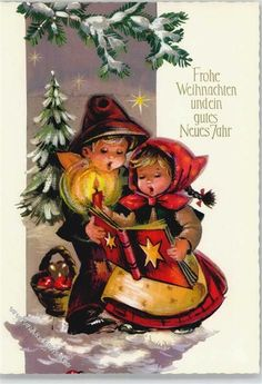 Merry Christmas and a happy new year - Weihnachtszeit - Noel Christmas Is Coming, Christmas Carol, Christmas And New Year, Vintage Christmas, Christmas Time, Vintage Greeting Cards, Christmas Greeting Cards, Holiday Photos, Christmas Pictures