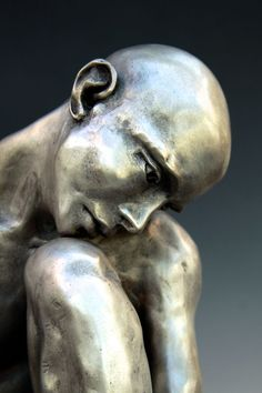 #Bronze #sculpture By #sculptor Bob Clyatt Titled: U0027Seated Man Head On