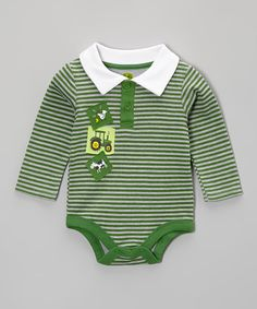 Another great find on #zulily! John Deere Green Appliqué Polo Bodysuit - Infant by John Deere #zulilyfinds