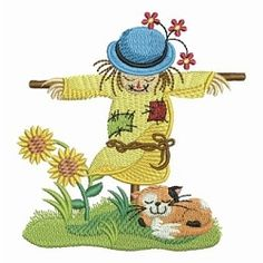 Scarecrow Scene 3 - 4x4 | What's New | Machine Embroidery Designs | SWAKembroidery.com Ace Points Embroidery