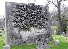 The Vergon Gravestone, an approximately ten foot by ten foot bas relief slab of carved stone showing a huge chestnut tree with whimsical animals and reptiles hidden in the leaves. Cemetery Monuments, Cemetery Statues, Cemetery Headstones, Old Cemeteries, Cemetery Art, Graveyards, Unusual Headstones, Gardens Of Stone, Cemetery Angels