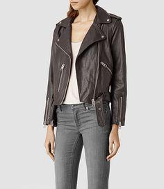 Women's Balfern Leather Biker Jacket (Black) - product_image_alt_text_2