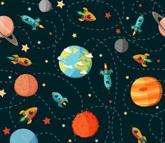 Seamless Space Planets, Rockets and Cartoon Spaceship Kid's Elements for Scrap Childish Hand Drawn Vector stock vector - Clipart. Cute Wallpapers, Wallpaper Backgrounds, Iphone Wallpaper, Cartoon Spaceship, Galaxy Pattern, Space Illustration, Arte Sketchbook, Space Planets, Outer Space