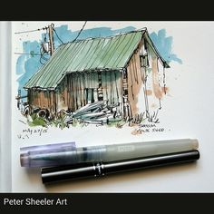 Another Painting from Milton's farm. This is the shed from… | Flickr
