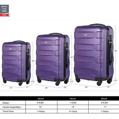 Amazon.com | Merax MT Imagine TSA Luggage Set 3 Piece Spinner Suitcase (Deep Gray) | Luggage Sets Luggage Reviews, Luggage Deals, Best Luggage, Lightweight Luggage, Spinner Suitcase, Leather Luggage, Business Travel, Deep, Totes