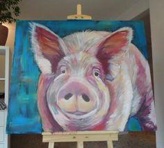 """I'm just a Pig""  acrylic painting 120 x 100 cm (2016 ) pig#animal#contemporaryart#schwein#dutchartpop#colorful"