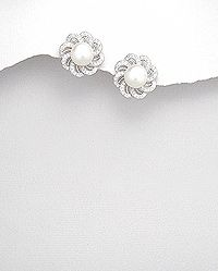Sterling Silver Earrings Decorated With CZ and Fresh Water Pearl (available in white and peach color)
