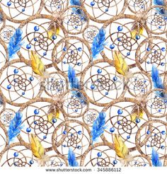 pattern, seamless, ethnic, watercolor, drawn, hand, decoration, string, native, bird, tribal, navy, brown, yellow, boho, bead, symbol, rope, feather, aquarelle, catcher, traditional, illustration, artwork, round, texture, indian, design, colorful, weaving, art, artistic, vintage, background, dreamcatcher, made, dream, culture, star, circle, graphic, thread, paint, abstract, hunter, beige, creative, blue, sketch, animal