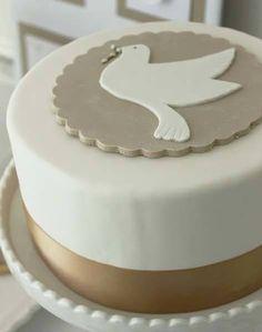 Baptism, Communion Cake - Simple but beautiful First Holy Communion Cake, Première Communion, Baby Dedication Cake, Cake Paris, Religious Cakes, Confirmation Cakes, Baptism Cakes, Baptism Party, Fondant Cakes