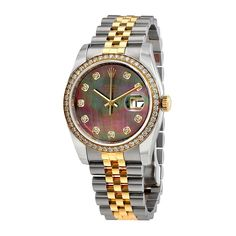 fa2766815e0 Amazon.com  Rolex Datejust Black Mother of Pearl Dial Automatic Ladies 18  Carat Yellow Gold and Stainless Steel Watch 116243BKMDJ  Watches