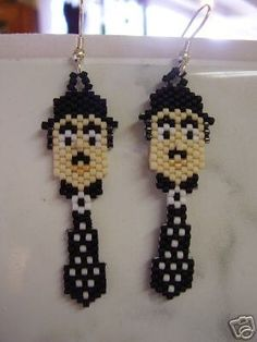 Charlie Chaplin Beaded Earrings by BeadedCreationsetc on Etsy, $14.00