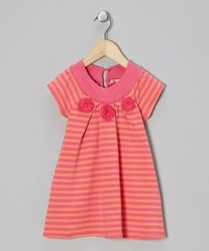 Take a look at this Pink & Orange Stripe Crocheted Flower Top - Toddler & Girls by CR Cute on #zulily today!